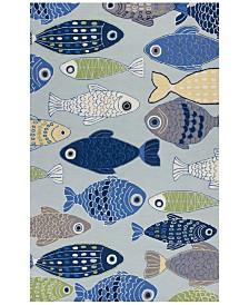 """KAS Sonesta Sea of Fish 2010 Light Blue 2'3"""" x 3'9"""" Area Rug"""