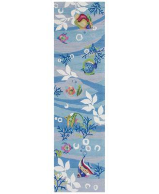 "Sonesta Tropical Fish 2011 Blue 2' x 7'6"" Runner Area Rug"