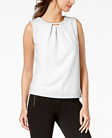 Embellished Pleated Sleeveless Top