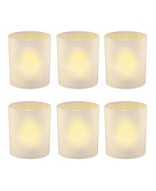 Lumabase Set of 6 Flickering Amber LED Lights in Frosted Votive Holders Cups