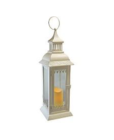 Lumabase White Leaf Detail Metal Lantern with LED Candle