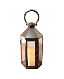 Lumabase Warm Black Hexagon Metal Lantern with LED Candle