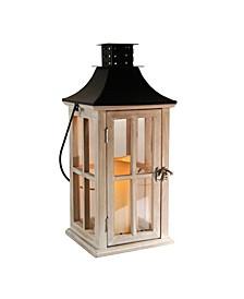 Lumabase White Washed Wooden Lantern with Black Roof and LED Candle