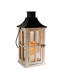 Lumabase White Washed Wooden Lantern with Black Roof and LED Candle