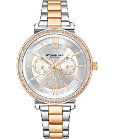 Stuhrling Original Women's Multi-Function, Rose/Silver Case and Bracelet, Silver Dial With Rose Accents Watch