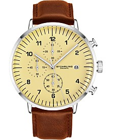Stuhrling Original Men's Silver Case, Tan Dial, Light Brown Leather Strap, Chrono Watch