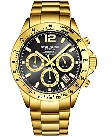 Stuhrling Original Men's Chrono, Black Dial, Gold Case, Gold Bracelet Watch