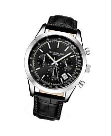 Stuhrling Original Men's Quartz Chronograph Date Watch, Silver Tone Alloy Case, Blue Dial, Blue Leather Strap