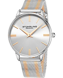 Stuhrling Original Men's Silver Dial, Gold Accents, Gold/Silver Mesh Bracelet Watch