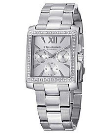 Original Stainless Steel Square Case on Link Bracelet, Silver Tone Dial, With Swarovski Crystal Studded Bezel, With Silver Tone Accents