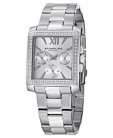 Stuhrling Original Stainless Steel Square Case on Link Bracelet, Silver Tone Dial, With Swarovski Crystal Studded Bezel, With Silver Tone Accents