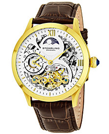 Stuhrling Original Stainless Steel Alligator Embossed Genuine Leather Strap Watch