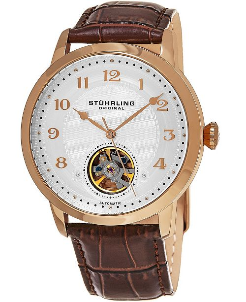 Stuhrling Original Men's Automatic Rose Gold Case, Open Heart Brown Leather Strap Watch