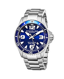 Stuhrling Original Men's Swiss Quartz Diver Watch, Stainless Steel Case, Blue Dial With Highly Luminescent Hands and Markers, Blue 120 Click Unidirectional Rotating Bezel, Solid Stainless Steel Bracelet