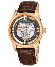 Stuhrling Original Men's Dress Skeletonized Automatic Watch, Rose Tone Case on Brown Alligator Embossed Genuine Leather Strap, Grey Skeletonized Dial With Rose Tone Accents