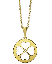 "kate spade new york Gold-Tone Clover 15-1/4"" Mini Pendant Necklace"