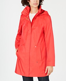 Jones New York Snap-Button Water-Resistant Hooded  Raincoat