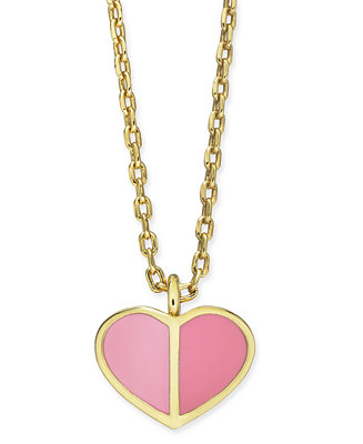 "Gold Tone Enamel Heart Pendant Necklace, 16"" + 3"" Extender by General"