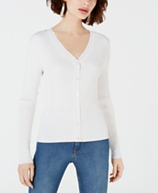 Maison Jules Ribbed V-Neck Cardigan, Created for Macy's