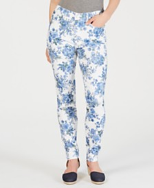 Charter Club Petite Floral-Print Jeans, Created for Macy's