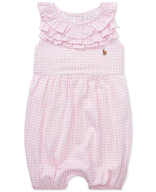26a5f3217ca69 Polo Ralph Lauren Baby Girls Ruffled Gingham Cotton Romper   Reviews ...