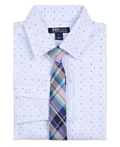 572d651410d Tommy Hilfiger Big Boys Stretch Diamond Geo-Print Shirt   Plaid Necktie Set