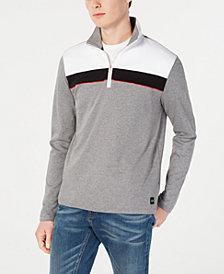 Calvin Klein Men's Color Blocked Stripe Quarter-Zip Sweater