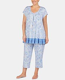 Ellen Tracy Plus-Size Printed Ruffled Hem Pajama Top