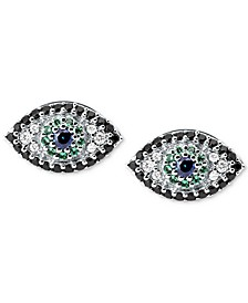 Silver-Tone Multi-Crystal Evil Eye Stud Earrings