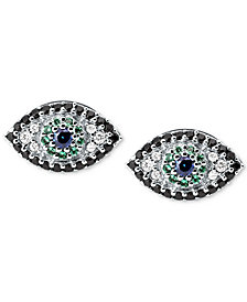 Michael Kors Silver-Tone Multi-Crystal Evil Eye Stud Earrings