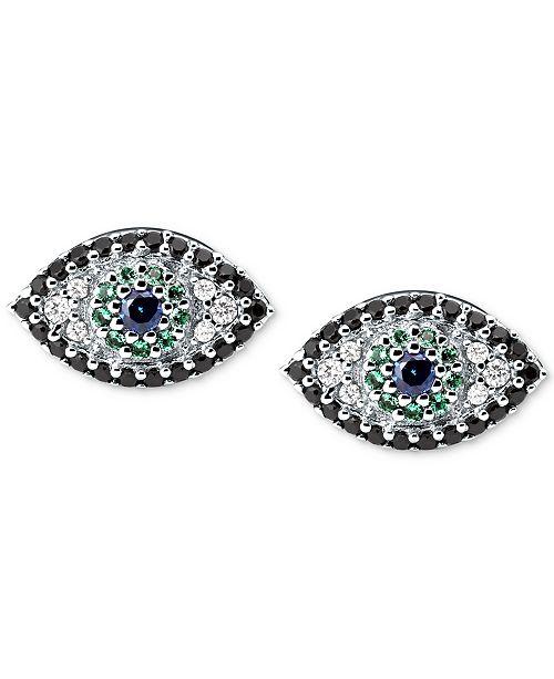 Michael Kors Silver-Tone Multi-Crystal Evil Eye Stud Earrings