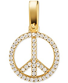 Gold-Tone Sterling Silver Pavé Peace Charm