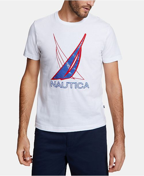 Nautica Men's Blue Sail Racer Embroidered Logo Graphic T-Shirt, Created for Macy's