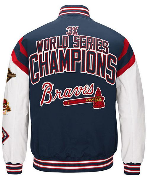 low priced a84a0 a26c2 Men's Atlanta Braves Home Team Commemorative Varsity Jacket