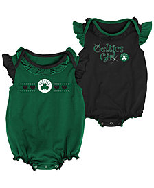 Outerstuff Boston Celtics Creepers 2 Pack Set, Infants (0-9 Months)