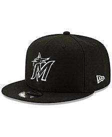 New Era Miami Marlins Black White 9FIFTY Snapback Cap