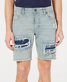 American Rag Men's Slim-Fit Moto Ripped and Repaired Shorts
