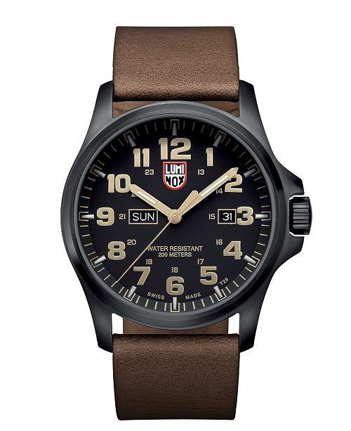 Suunto Luminox Atacama Field Black Dial Stainless Steel Leather Quartz Men's Watch 1929