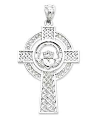 14k White Gold Charm Celtic Claddagh Cross Charm Jewelry