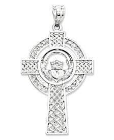 14k White Gold Charm, Celtic Claddagh Cross Charm