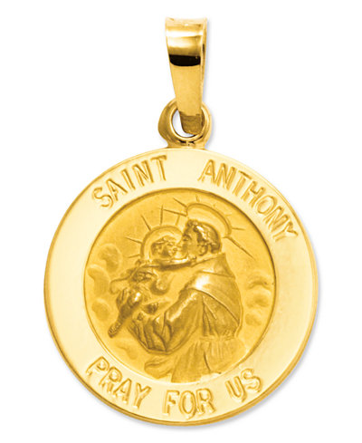 14k Gold Charm, Saint Anthony Medal Charm