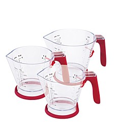 Zyliss 3-Piece Measuring Cup Set with No Drip Spouts, Sliding Scales with Measurements and Non-Slip Handles