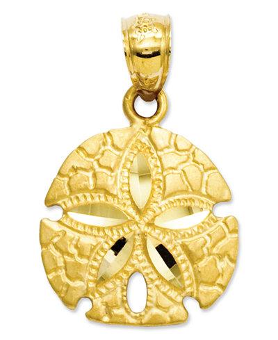 14k Gold Charm, Sand Dollar Charm