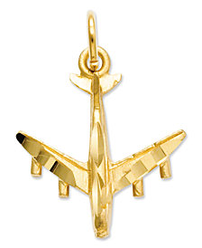 14k Gold Charm, 3D Airplane Charm
