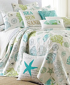 Biscayne Coastal Print Reversible Twin Quilt Set