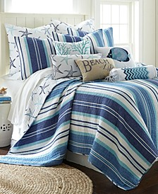Camps Bay Coastal Print Reversible King Quilt Set
