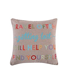 "Home Mayla Travel Often Burlap 20"" Pillow"
