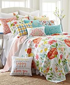 Home Laurel Coral Twin Quilt Set