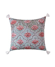 Home Spruce Coral Printed Cream Tassels Pillow
