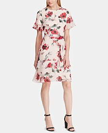 Lauren Ralph Lauren Belted Floral-Print Georgette Dress